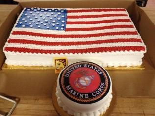 Marine Corps & American Flag Cake