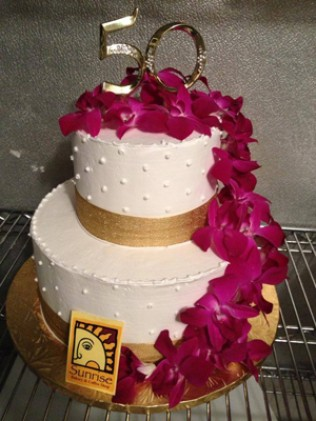 Orchid 50th Birthday Cake